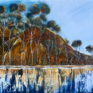 (CreativeWork) Eucalypts in the Summer heat by Julie Dynan. arcylic-painting. Shop online at Bluethumb.