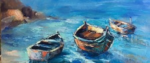 (CreativeWork) THE BOATS AND THE SEA by Ivana Pinaffo. oil-painting. Shop online at Bluethumb.