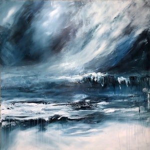 (CreativeWork) Moonlight Sonata (large 122x122cm)     by Kat Las. arcylic-painting. Shop online at Bluethumb.