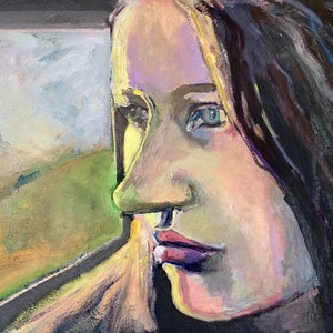(CreativeWork) On the train by Rachel Grove. arcylic-painting. Shop online at Bluethumb.