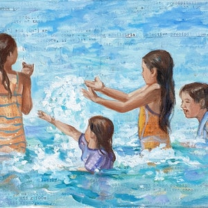 (CreativeWork) Three Against One by Sherry McCourt. oil-painting. Shop online at Bluethumb.
