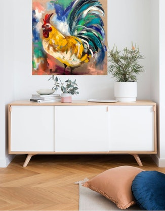 (CreativeWork) Rooster  by Amanda Brooks. #<Filter:0x00007fcb011d5280>. Shop online at Bluethumb.
