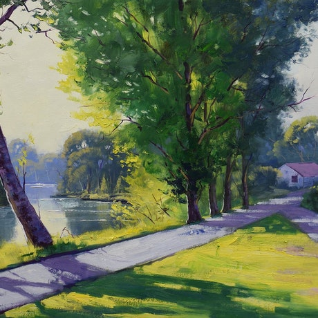 (CreativeWork) Path along the Tumut River by Graham Gercken. Oil Paint. Shop online at Bluethumb.