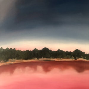 (CreativeWork) Pink Lake by Sandy Chen. oil-painting. Shop online at Bluethumb.