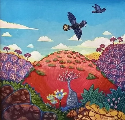"""(CreativeWork) """"RED HILL"""" by Robert Den Ronden. Acrylic Paint. Shop online at Bluethumb."""