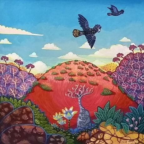 "(CreativeWork) ""RED HILL"" by Robert Den Ronden. Acrylic Paint. Shop online at Bluethumb."