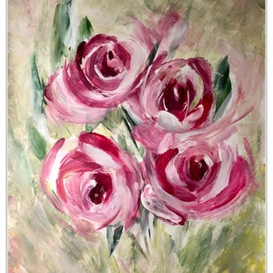 (CreativeWork) Pink roses  by Mitra Torki. arcylic-painting. Shop online at Bluethumb.