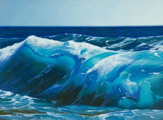 (CreativeWork) Blue Breaker 3 by Colin Madgwick. Oil Paint. Shop online at Bluethumb.