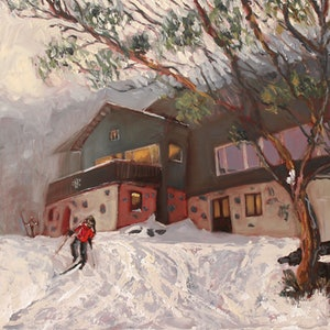 (CreativeWork) It's all downhill from here, Snowy Mountains by fiona smith. oil-painting. Shop online at Bluethumb.
