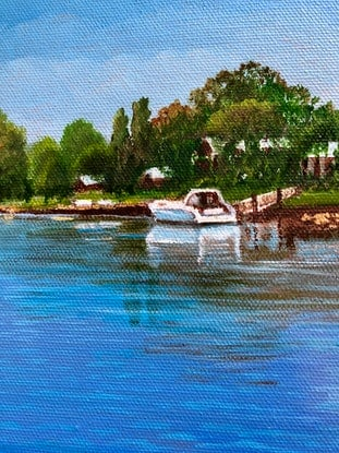 (CreativeWork) Murray River Jetty by Sally Mitchell. Oil Paint. Shop online at Bluethumb.