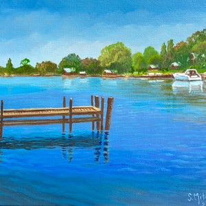 (CreativeWork) Murray River Jetty by Sally Mitchell. oil-painting. Shop online at Bluethumb.