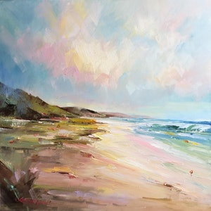 (CreativeWork) Portsea - The Back beach #10 by Liliana Gigovic. oil-painting. Shop online at Bluethumb.