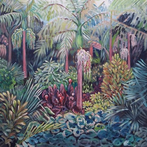 (CreativeWork) Tropical Garden by Judith Boyes. arcylic-painting. Shop online at Bluethumb.