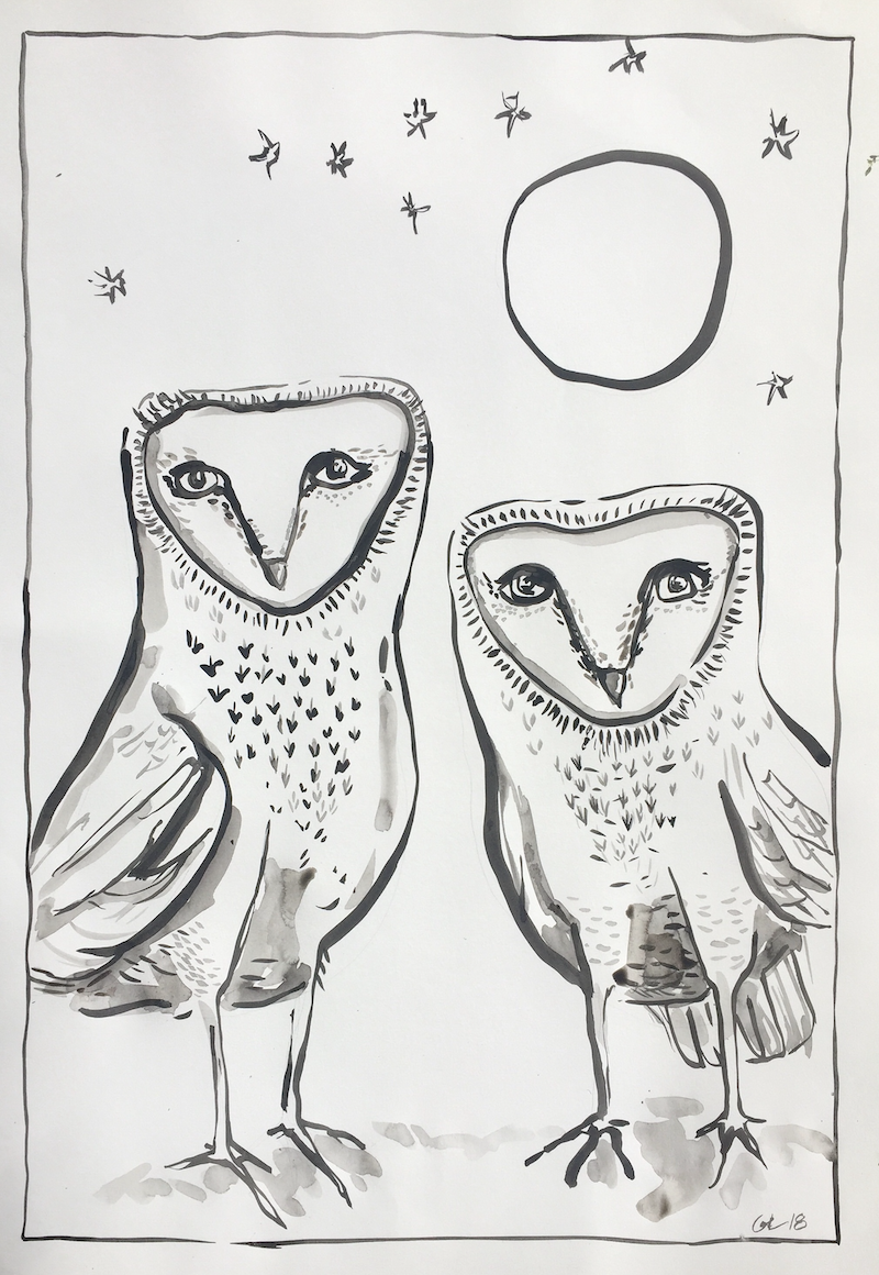 (CreativeWork) Two Sisters by Greta Laundy. drawing. Shop online at Bluethumb.