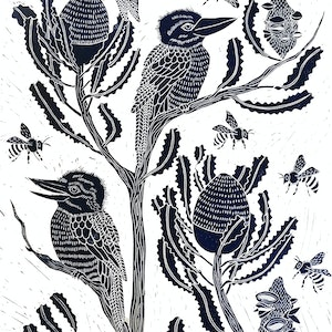 (CreativeWork) Kookaburra and Banksia Lino print Ed. 24 of 150 by Marinka Parnham. print. Shop online at Bluethumb.