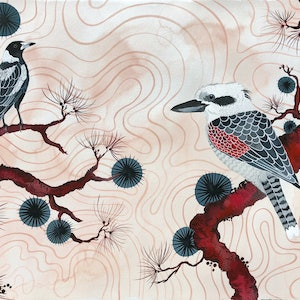 (CreativeWork) Magpie and Kookaburra Japonisme by Sally Browne. watercolour. Shop online at Bluethumb.