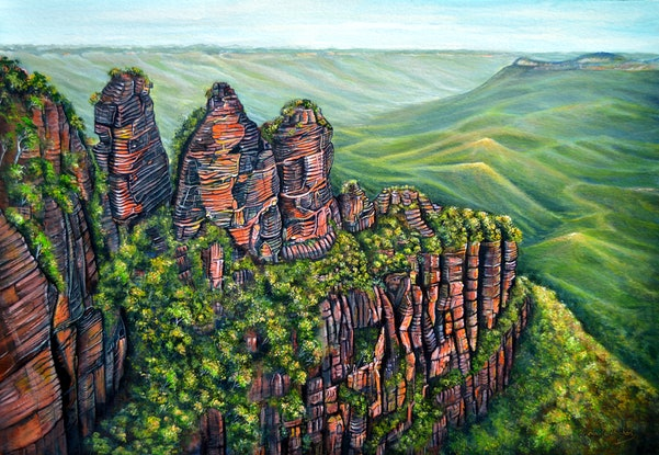 (CreativeWork) Etched in Time - Blue Mountains by Linda Callaghan. Acrylic Paint. Shop online at Bluethumb.