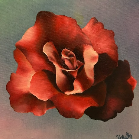 (CreativeWork) Rose no.1 by Holly Would. Oil Paint. Shop online at Bluethumb.