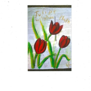 (CreativeWork) tulips by grace wilkinson. mixed-media. Shop online at Bluethumb.