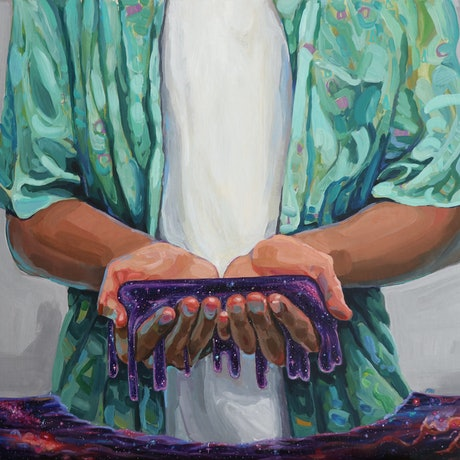 (CreativeWork) He's got the whole world in his hands by Madeline Hutchinson. Acrylic. Shop online at Bluethumb.