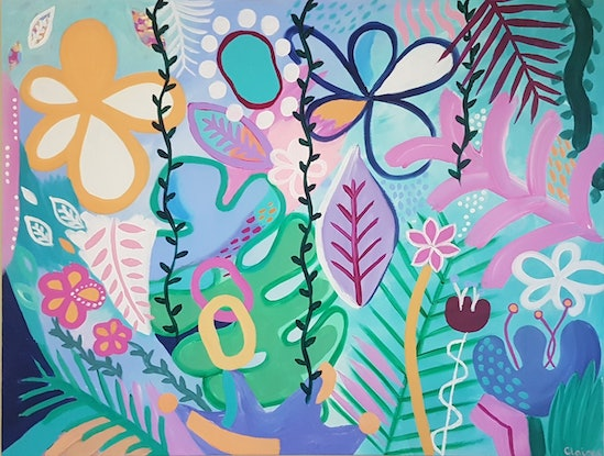 (CreativeWork) Jungle Whimsy - Large acrylic  by Claire Cooper. #<Filter:0x00007f3c24a6be60>. Shop online at Bluethumb.