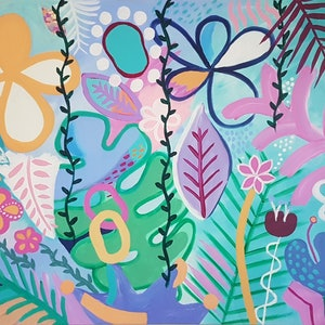 (CreativeWork) Jungle Whimsy - Large acrylic  by Claire Cooper. arcylic-painting. Shop online at Bluethumb.