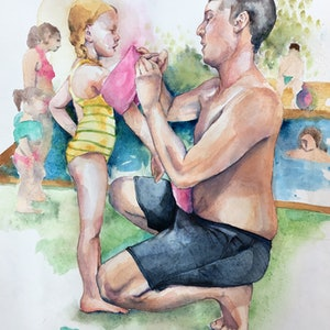 (CreativeWork) Hurry up Daddy, I want to swim! by Wilna ten Cate. watercolour. Shop online at Bluethumb.