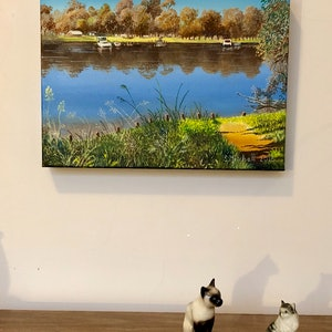 (CreativeWork) Bright day by the river. by Sally Mitchell. Oil Paint. Shop online at Bluethumb.