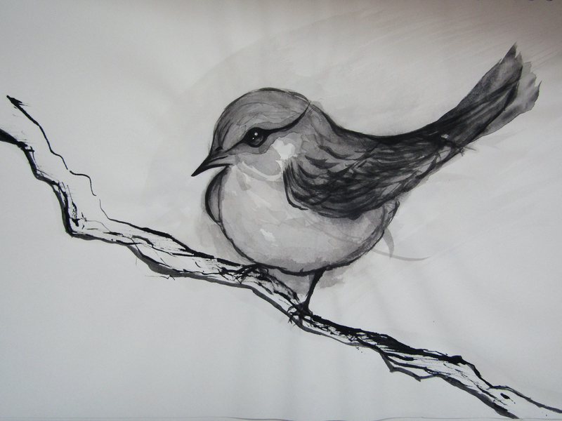 (CreativeWork) Bird in Chinese Calligraphy Ink  by Vanessa Yi-Kai TSAI. other-media. Shop online at Bluethumb.