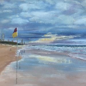 (CreativeWork) Evening Strolls at Broadbeach, Qld. by Jane Davies. other-media. Shop online at Bluethumb.