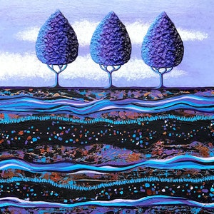(CreativeWork) Ultra Violet Purple Treescape - texture and metallic elements. by Lisa Frances Judd. arcylic-painting. Shop online at Bluethumb.