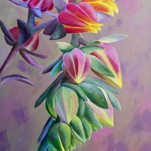 (CreativeWork) Succulent Delight by Cory Acorn. arcylic-painting. Shop online at Bluethumb.