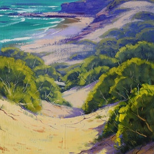 (CreativeWork)  Dunes at Soldiers Beach, nsw by Graham Gercken. oil-painting. Shop online at Bluethumb.