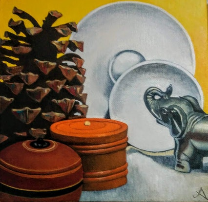 (CreativeWork) Silver elephant and pine cone by Jenny Albanis. Acrylic Paint. Shop online at Bluethumb.