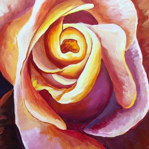 (CreativeWork) Rose in Bloom  by Sandy Chen. arcylic-painting. Shop online at Bluethumb.
