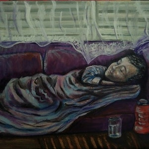 """(CreativeWork) """"The Other Bed"""" (40x30 thin board canvas. Certificate of Authenticity provided) by K.A. Oakley. acrylic-painting. Shop online at Bluethumb."""