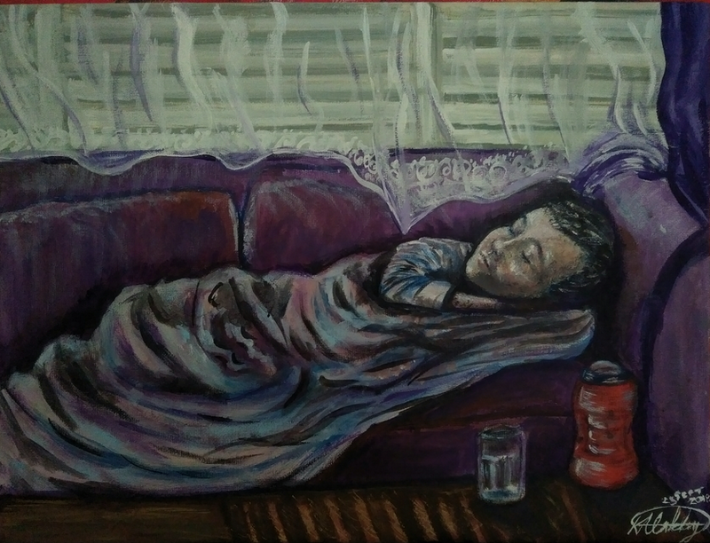 "(CreativeWork) ""The Other Bed"" (40x30 thin board canvas. Certificate of Authenticity provided) by K.A. Oakley. arcylic-painting. Shop online at Bluethumb."