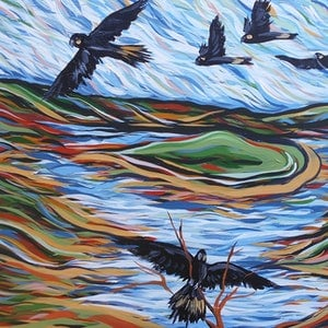 (CreativeWork) Black Cockatoos over Serpentine Dam  by Lisa Fahey. arcylic-painting. Shop online at Bluethumb.