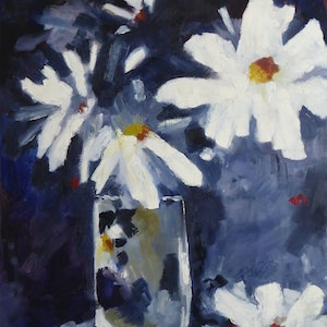 (CreativeWork) Daisy Daisy by Barry O'Brien. oil-painting. Shop online at Bluethumb.