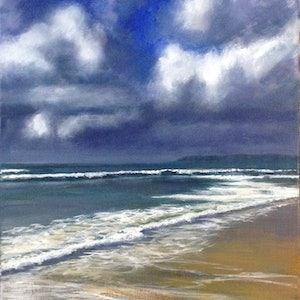 (CreativeWork) Storm over Pippi Beach by Anne Strambi. oil-painting. Shop online at Bluethumb.