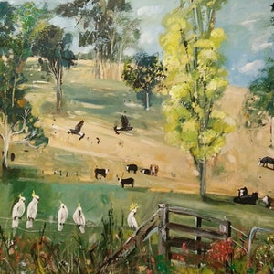 (CreativeWork) Cockatoos and Cows by Susan Trudinger. arcylic-painting. Shop online at Bluethumb.