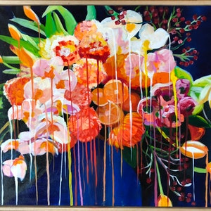 (CreativeWork) Flowers - nothing lasts forever by Alison Pilcher. arcylic-painting. Shop online at Bluethumb.