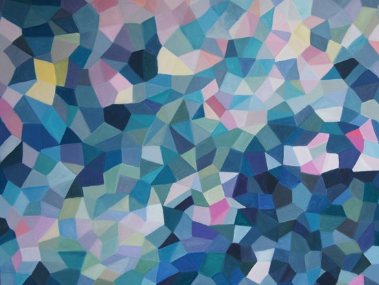 (CreativeWork) As Evening Falls Facets by Bev Plowman. Acrylic Paint. Shop online at Bluethumb.