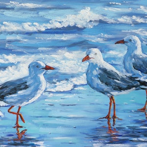 (CreativeWork) Seagulls by Irina Redine. oil-painting. Shop online at Bluethumb.
