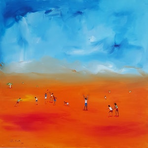 (CreativeWork) Outback Footie by Little Heath. oil-painting. Shop online at Bluethumb.