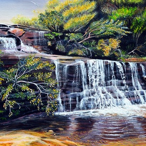 (CreativeWork) Wentworth Falls Cascades, Blue Mountains by Linda Callaghan. arcylic-painting. Shop online at Bluethumb.