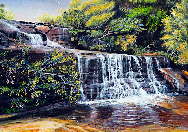 (CreativeWork) Wentworth Falls Cascades, Blue Mountains by Linda Callaghan. acrylic-painting. Shop online at Bluethumb.