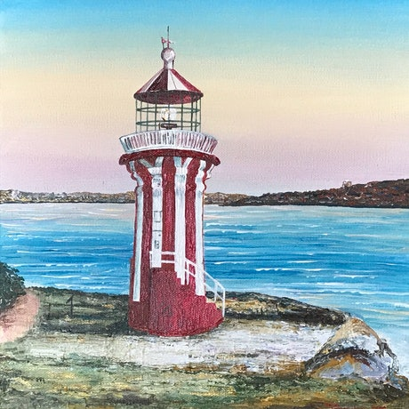 (CreativeWork) Hornby lighthouse by Jennie Jones. Acrylic Paint. Shop online at Bluethumb.