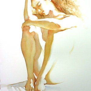 (CreativeWork) Barely There #2 - Original Watercolour Paining by Pauline Adair. watercolour. Shop online at Bluethumb.