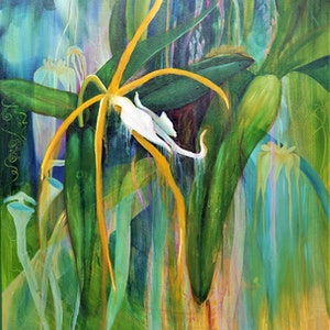 (CreativeWork) A corner of my garden #2 by Wilna ten Cate. oil-painting. Shop online at Bluethumb.